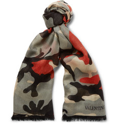 Valentino Camouflage-Print Cashmere, Silk and Wool-Blend Scarf