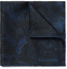 Valentino Butterfly-Print Silk Pocket Square