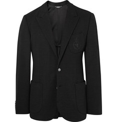 Dolce & Gabbana Black Slim-Fit Embroidered Virgin Wool Blazer