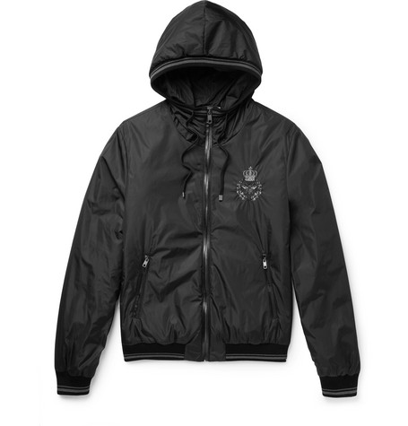 Leather-trimmed Embroidered Shell Hooded Jacket