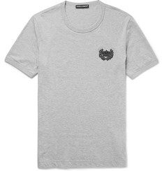Dolce & Gabbana Slim-Fit Appliquéd Mélange Cotton-Jersey T-Shirt