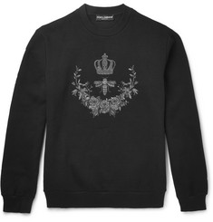 Dolce & Gabbana Embroidered Cotton-Blend Jersey Sweatshirt