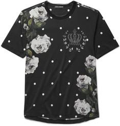 Dolce & Gabbana Raw-Edge Printed Cotton-Jersey T-Shirt