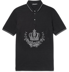 Dolce & Gabbana Slim-Fit Embroidered Cotton-Piqué Polo Shirt