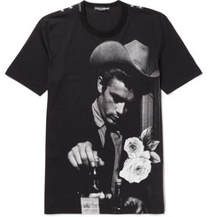 Dolce & Gabbana Slim-Fit Appliquéd Printed Cotton-Jersey T-Shirt