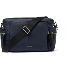 Burberry London Leather-Trimmed Canvas Messenger Bag