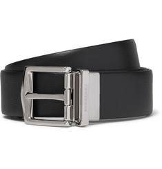Burberry - 3.5cm Black Cross-Grain Leather Belt