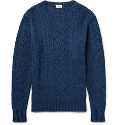 Club Monaco Cable-Knit Indigo-Dyed Cotton Sweater