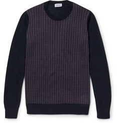 Brioni Jacquard-Knit Silk, Wool and Cashmere-Blend Sweater