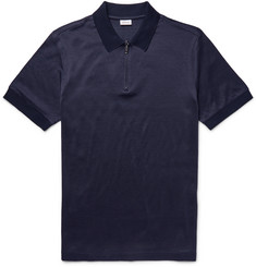 Brioni Jacquard-Knit Cotton and Silk-Blend Polo Shirt