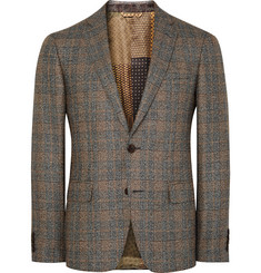 Etro Brown Slim-Fit Checked Silk and Wool-Blend Blazer