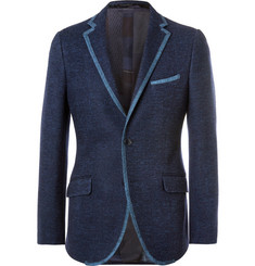 Etro Navy Slim-Fit Contrast-Trimmed Cotton-Blend Blazer
