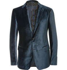 Etro Blue Slim-Fit Debossed Velvet Blazer