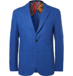 Etro Blue Slim-Fit Wool-Blend Blazer