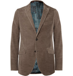 Etro Brown Slim-Fit Cotton and Cashmere-Blend Corduroy Blazer