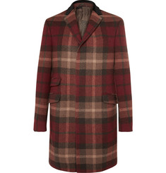 Etro Velvet and Calf Hair-Trimmed Plaid Wool-Blend Coat