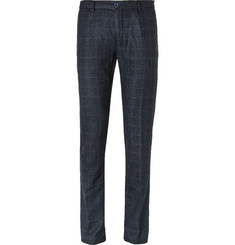 Etro Navy Slim-Fit Prince of Wales Checked Wool-Blend Trousers