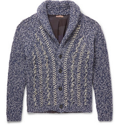 Etro Oversized Shawl-Collar Distressed Mélange Wool Cardigan