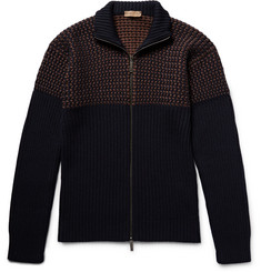 Etro Birdseye-Panelled Wool Zip-Up Cardigan