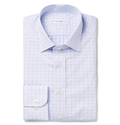 Etro Blue Slim-Fit Printed Cotton-Poplin Shirt
