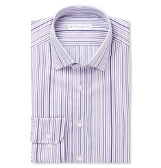 Etro Purple Slim-Fit Striped Cotton Shirt