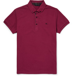 Etro Paisley-Trimmed Cotton-Piqué Polo Shirt
