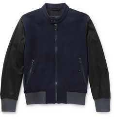 Lanvin Panelled Wool-Blend and Cotton Bomber Jacket