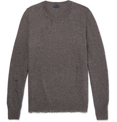 Lanvin Elbow-Patch Distressed Wool-Blend Sweater