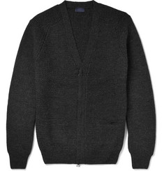 Lanvin Waffle-Knit Wool Zip-Up Cardigan