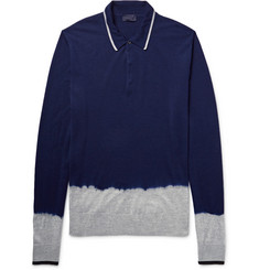 Lanvin Dip-Dyed Knitted Merino Wool Polo Shirt
