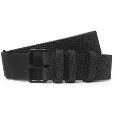Lanvin 3cm Black Suede and Patent-Leather Belt