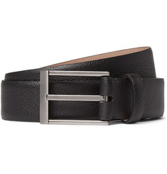 Lanvin 3cm Black Pebble-Grain Leather Belt