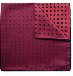 Lanvin Colour-Block Polka-Dot Silk Pocket Square