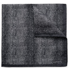 Lanvin Snake-Print Silk Pocket Square