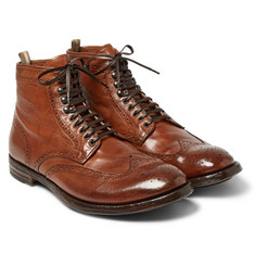 Officine Creative - Anatomia Burnished-Leather Brogue Boots