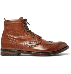 Officine Creative Anatomia Burnished-Leather Brogue Boots