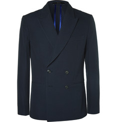Paul Smith Navy Soho Slim-Fit Double-Breasted Seersucker Blazer