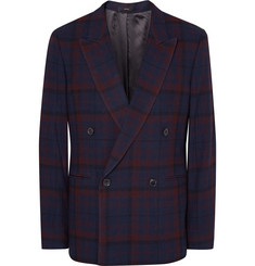Paul Smith Blue Slim-Fit Double-Breasted Checked Wool Blazer