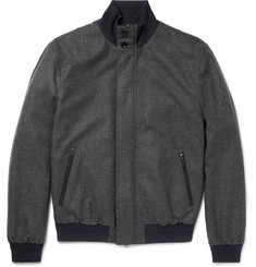 Ermenegildo Zegna Herringbone Trofeo Wool and Cashmere-Blend Bomber Jacket