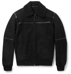 Ermenegildo Zegna Slim-Fit Leather-Trimmed Shearling Jacket