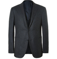 Ermenegildo Zegna Blue Milano Slim-Fit Mélange Wool and Silk-Blend Blazer