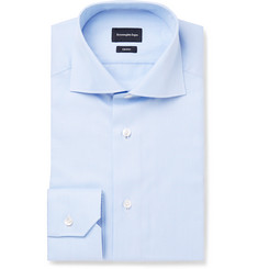 Ermenegildo Zegna - Blue Slim-Fit Cutaway-Collar Trofeo Cotton Shirt