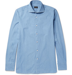 Ermenegildo Zegna Slim-Fit Cutaway-Collar Cotton-Chambray Shirt