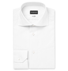 Ermenegildo Zegna - Grey Slim-Fit Cutaway-Collar Striped Cotton Shirt