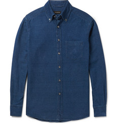 Ermenegildo Zegna Garment-Dyed Button-Down Collar Cotton Shirt