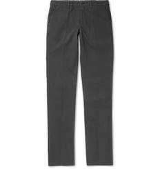 Ermenegildo Zegna Slim-Fit Garment-Washed Brushed Stretch-Cotton Trousers
