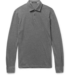 Ermenegildo Zegna Slim-Fit Herringbone Cotton and Wool-Blend Polo Shirt