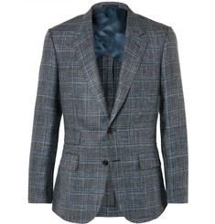 Kingsman - Grey Harry Slim-Fit Checked Silk, Linen and Wool-Blend Blazer