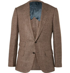 Kingsman Brown Harry Slim-Fit Silk, Linen and Wool-Blend Blazer