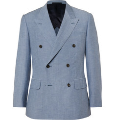 Kingsman - Blue Harry Slim-Fit Wool and Cotton-Blend Chambray Blazer